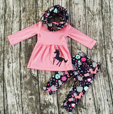 USA Toddler Kids Baby Girl Pink Unicorn Tops Dress Floral Pants Outfits Clothes