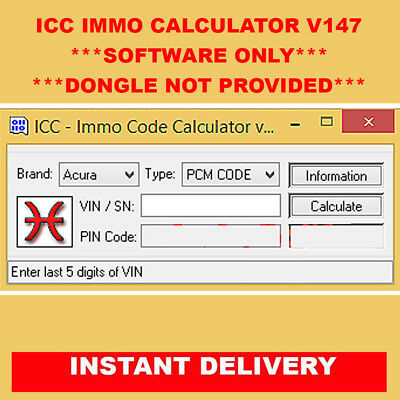 ICC Immo Code Calculator v147 software only Read Description