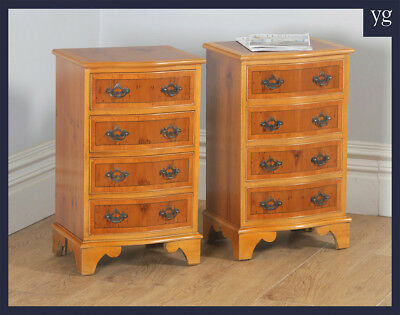 Georgian Style Yew & Walnut Serpentine Bedside Chests of Drawers Nightstands