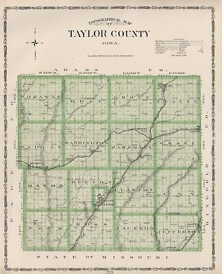 TAYLOR County Iowa Map Authentic 1904 (Dated) w/Towns, TWPs, RRs, Topography