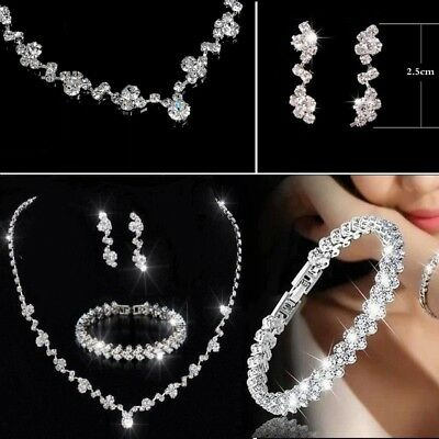 Bridesmaid Crystal Necklace Earrings Jewellery Bracelet Set Wedding Bridal Gift