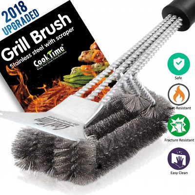 BBQ Barbecue Grill Brush Cleaner Stainless Steel Scraper Wire Clean Tool Eyeful