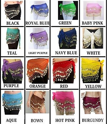 3 Rows Belly Dance Hip Scarf Wrap Belt Dancer Skirt Costume Coins All Colours Uk