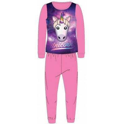 Girls Kids Official Licensed Emoji Unicorn Pink Long Sleeve Pyjamas PJs