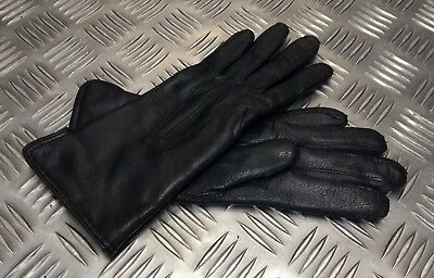 Genuine Military Issue Officers Black Leather Lined 3 Dart Parade Gloves NEW