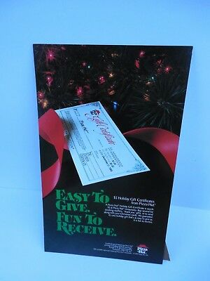 Pizza Hut Holiday Gift Certificate Counter Board Sign Vintage 1987.Unused