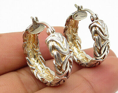 925 Sterling Silver - Byzantine Textured Design Hollow Hoop Earrings - E3178
