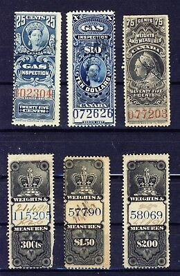 6x Canada Revenue stamps 2x Gas, 4x Weights & Measures 3x Crown 1x Vict. CV=$62.