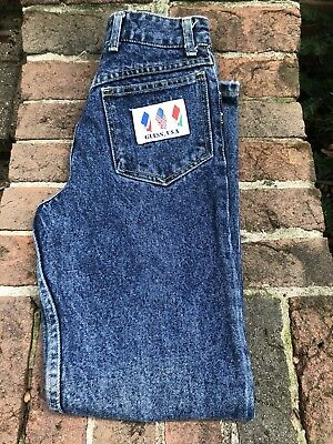 """Vintage Boys Guess Jeans 24""""x27"""" With Flag Patch"""