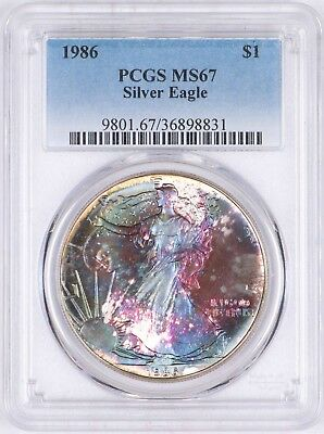 1986 American Silver Eagle $1 PCGS MS67 Purple & Blue-Green Color Toned Toning