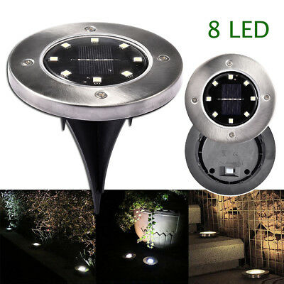 8 LED Solar Stainless Steel Lawn Lights Outdoor Garden Yard Ground Floor Lamps