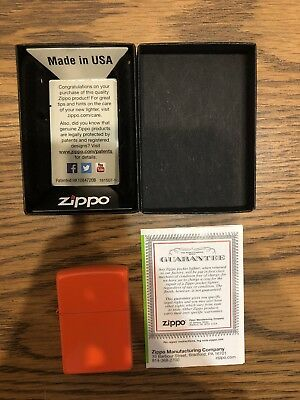 Zippo Full Size Neon Orange Finish Classic Windproof Lighter 28888 W/ Box Papers