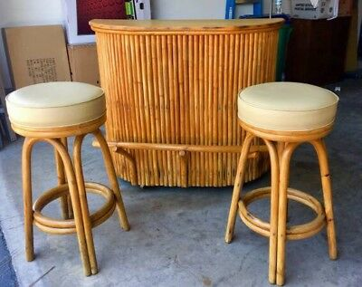Swell Vintage Bamboo Rattan Tiki Bar 2 Stools Mid Century Bar Gmtry Best Dining Table And Chair Ideas Images Gmtryco
