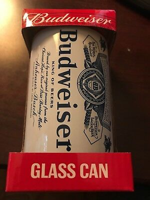 NEW IN BOX - BUDWEISER GLASS TUMBLERS Beer CAN SHAPED Budweiser mug 10oz. WHITE