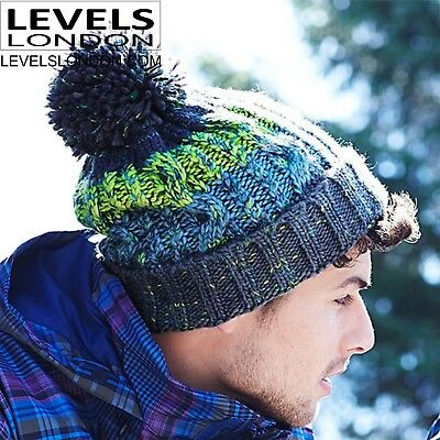 Men's quality Beanie Hat Winter Bobble work Woolly cable knit Knitted Ski B486