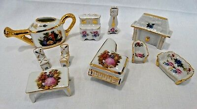 Limoges Porcelain And Gold Trim Doll House Furniture 10 Pc