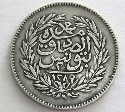 Tunisia 2 Piastres (AH 1289)1872  KM 147a, Circulated, Uncertified