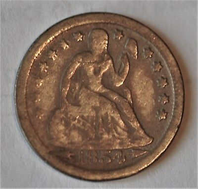 1854 O 10 C Seated Liberty Dime Arrows New Orleans