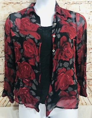 706cac3e910ed1 Tess Silk Long Sleeve Sheer Blouse Tank Button Down 2pc Red Black Floral  Large