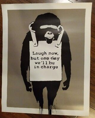Laugh Now Poster Print by Banksy, 16x20 inch