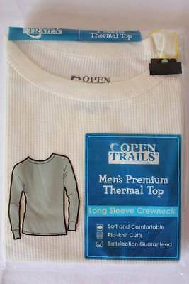 NEW Mens Thermal Underwear Waffle Knit Crew Shirt XL Off White Top Long Johns