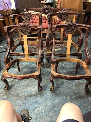 VICTORIAN  RJ HORNER? 5 Piece Parlor Carved Mahogany SET w/ GRIFFINS & Claw Feet