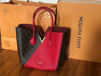 29074fd2113f LOUIS VUITTON Monogram Kimono Red M40459 Cerise Tote Hand Bag Used  Excellent++