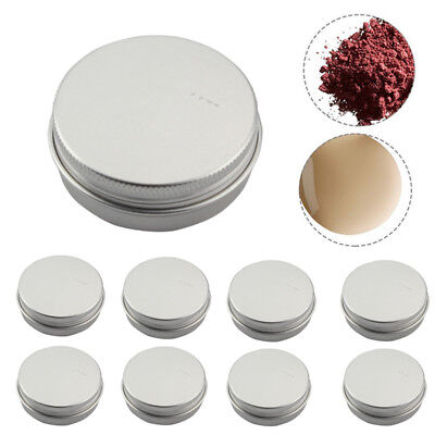 10 pcs Small Mini Round Silver Tin Can Boxes Metal Box Jewelry Container