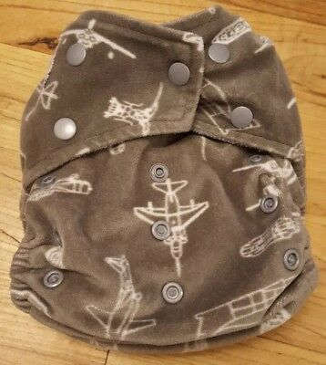 Kawaii Green Baby Cloth Diaper Charcoal Bamboo Mink Gray Airplanes W/2 Inserts