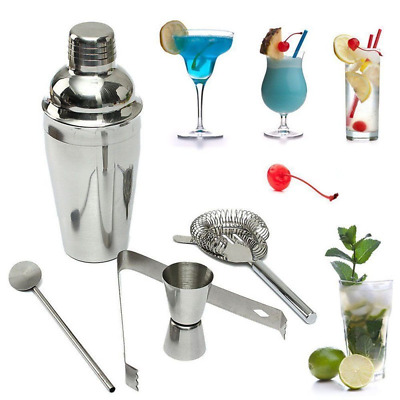 Stainless Steel Cocktail Drink Bartender Shaker Mixer Bar Mixing Kit 5pcs Tools