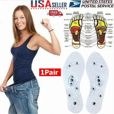 Men Women Fashion Magnetic Therapy Insole Silicone Weight Loss Insoles 1Pair