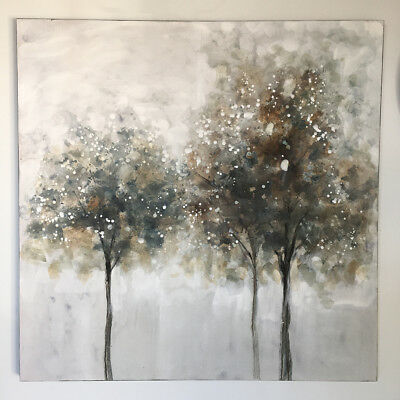 Stunning 100cm Trees Oil Painted Wall Canvas/Neutral Ready to Hang Wall Art