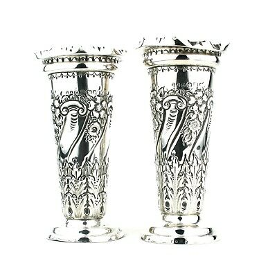 Antique Victorian Sterling Silver Vases Repousse Floral Sheffield 1898