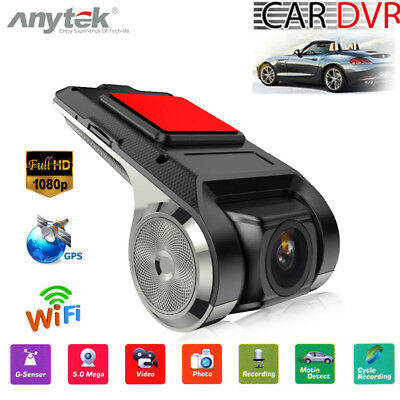 Anytek FHD 1080P Coche DVR Cámara Grabadora Video G-Sensor Wifi GPS ADAS Dashcam