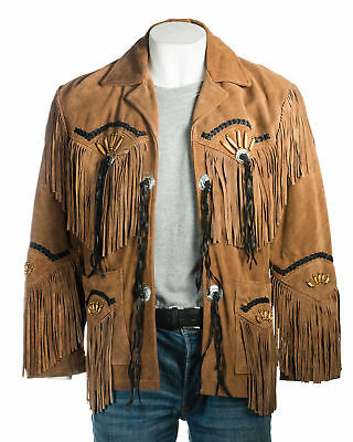 bd3a9577 Mens Cowboy Native American Western Wear Fringe & Beads TAN Suede Leather  Jacket
