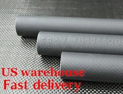 Matte 29mm x 27mm x 1000mm 3k Carbon Fiber Round Tube (Roll Wrapped) US 29*27