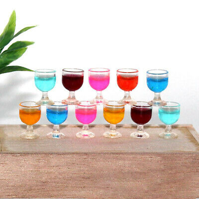 6Pcs Mini Wine Cocktail Glasses Goblets For 1:12 Dollhouse Bar Drink Decoration