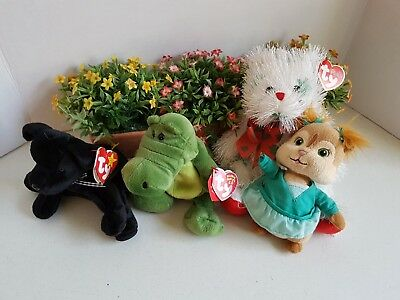 Lot of Ty Beanie Babies Stuffed Plush Punkie Cat Alligator Black Dog Chipmunk