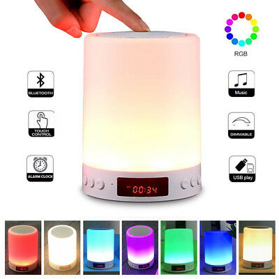 Wireless Mini Bluetooth Speaker Music Player Touch LED Lamp Night Light W/Screen