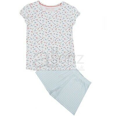 Girls Top Uk Store Flower Print Cotton Pyjamas Shorts Pyjama Set M S L Age