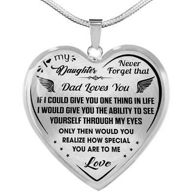 Proud Dad to Daughter Gifts - Inspirational Luxury Necklace from Dad Father Papa