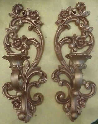 Homco Syroco Gold Wall Sconces Home Interiors #4118 Rose