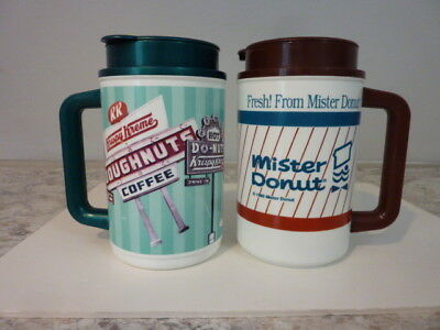 Rare Krispy Kreme and Mister Donut Thermos 22 oz Hot Cold Coffee Mugs