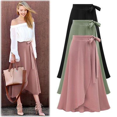 Women Fashion High Waist Skirt Formal Irregular Split Bandage Skirt Long Skirt