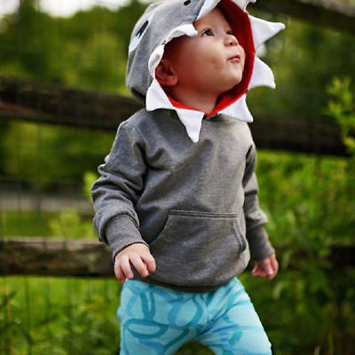 Cartoon Shark Design Hoodie Cute Hooded Pullover Casual Top for  Baby Girls Boys