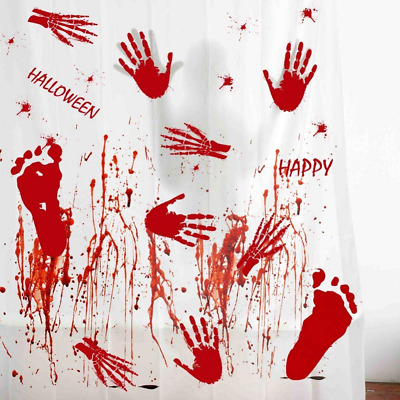 60pcs Handprint Footprint Halloween Bloody Window Clings Decals Scary Stickers