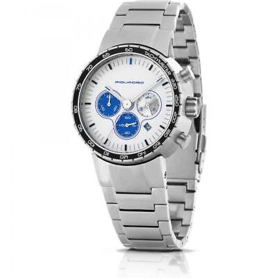 Mens Watch PIQUADRO PO118 Chrono Steel Bracelet White Made in Italy