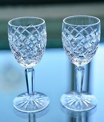 Waterford Crystal Alana Diamond Cut Pattern Glass Set of 2 Stemware