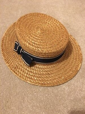 Vintage School Boater Style Straw Hat. The Ridgmont Make.  Size 6