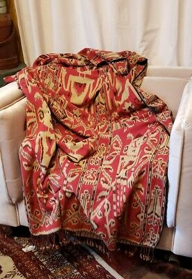 """Indonesian Ikat woven cotton, Estate find vintage Weaving 89"""" x 46""""  #3 of 3"""